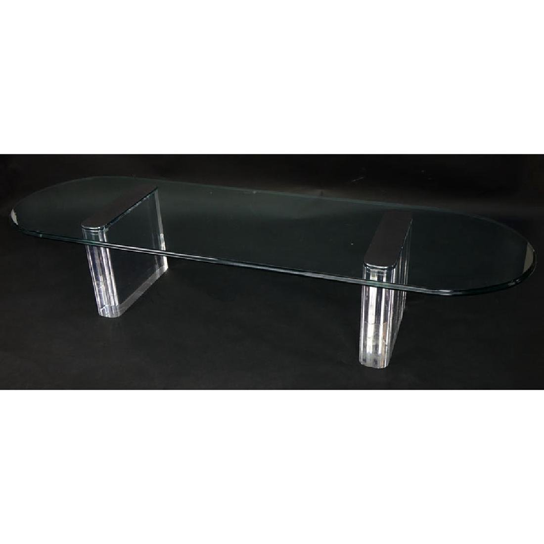 Vintage Lucite, Chrome and Glass Coffee Table