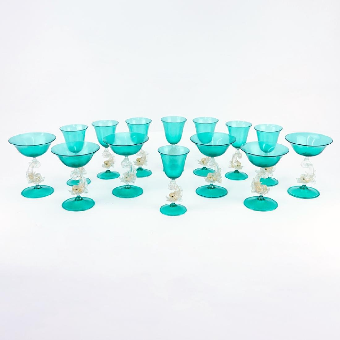 Fourteen (14) Hand Blown Venetian Murano Art Glass