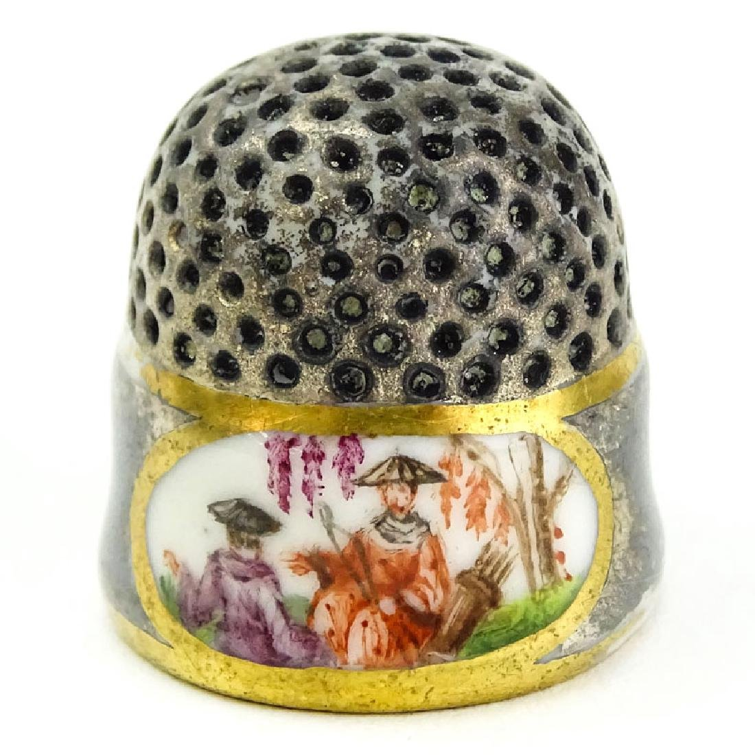 Mid 18th Century Meissen Porcelain Thimble. Gray/Pewter