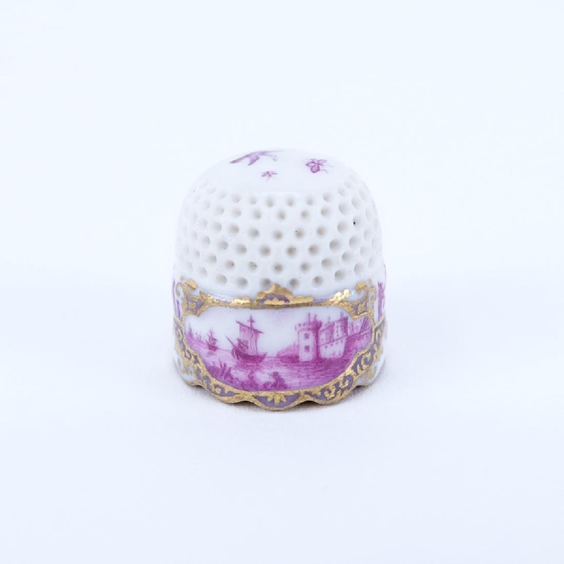 Mid 18th Century Meissen Porcelain Thimble. The upper