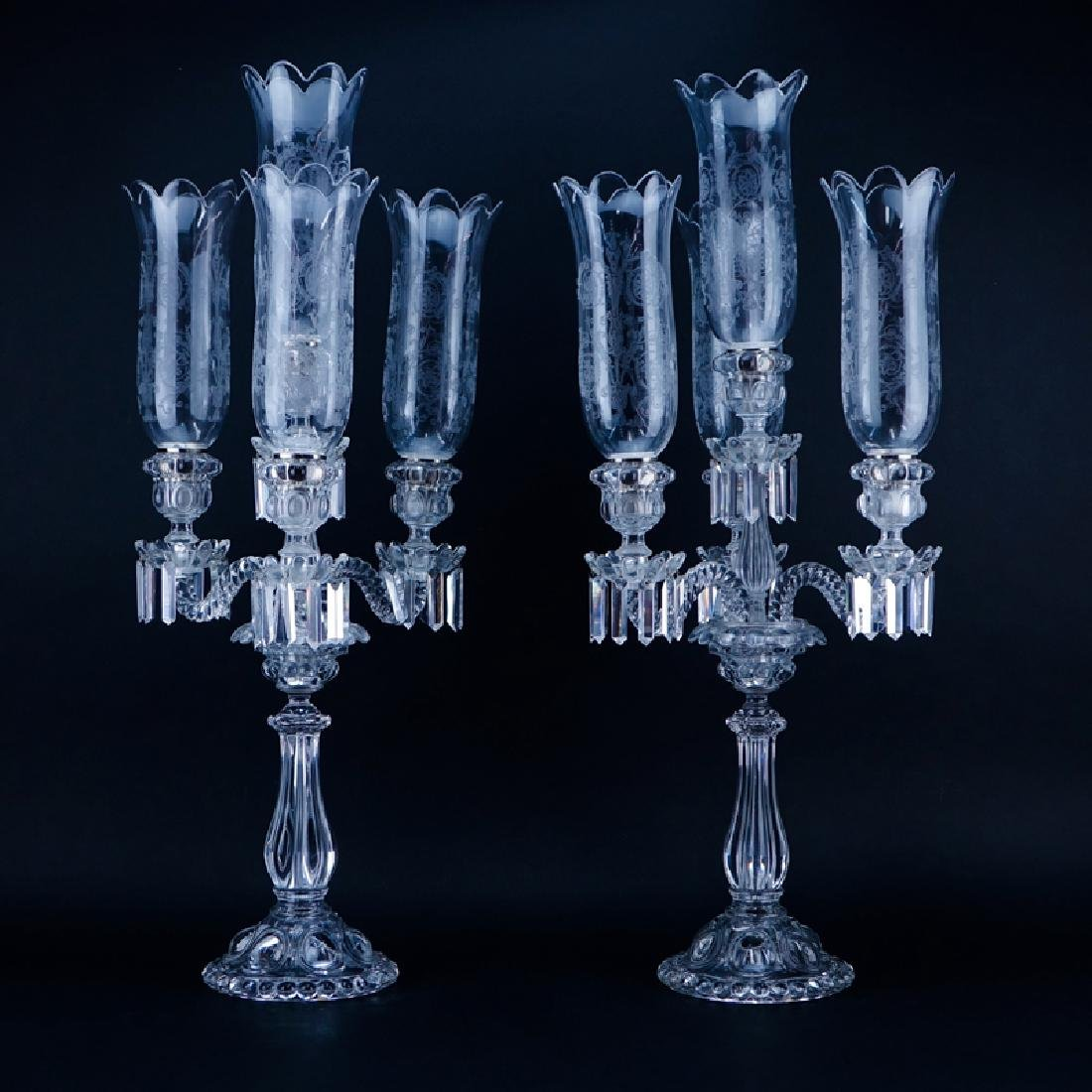 Pair of Antique Baccarat Moulded Glass 3 Light