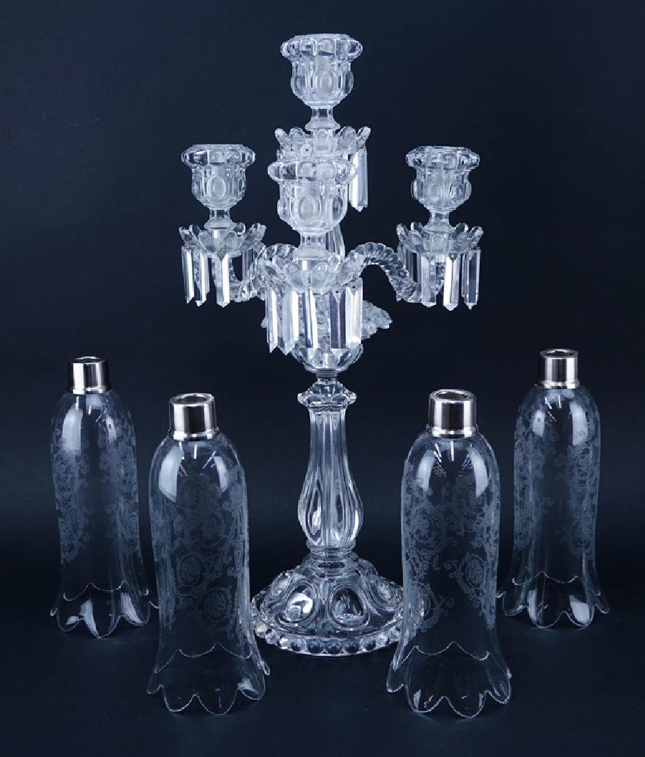 Pair of Antique Baccarat Moulded Glass 3 Light - 2