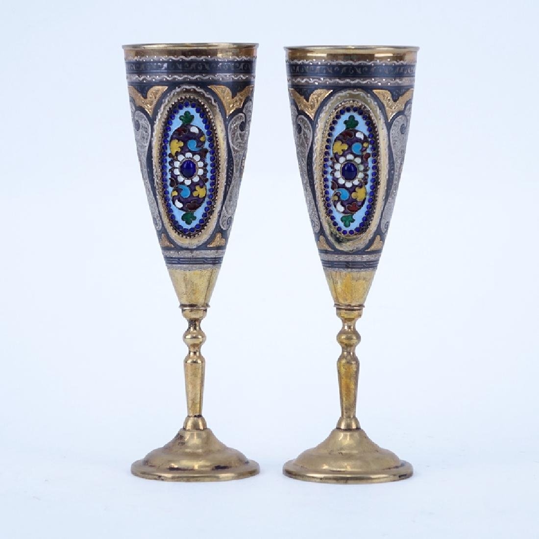 Pair of Russian 875 Silver and Enamel Cups. Chased