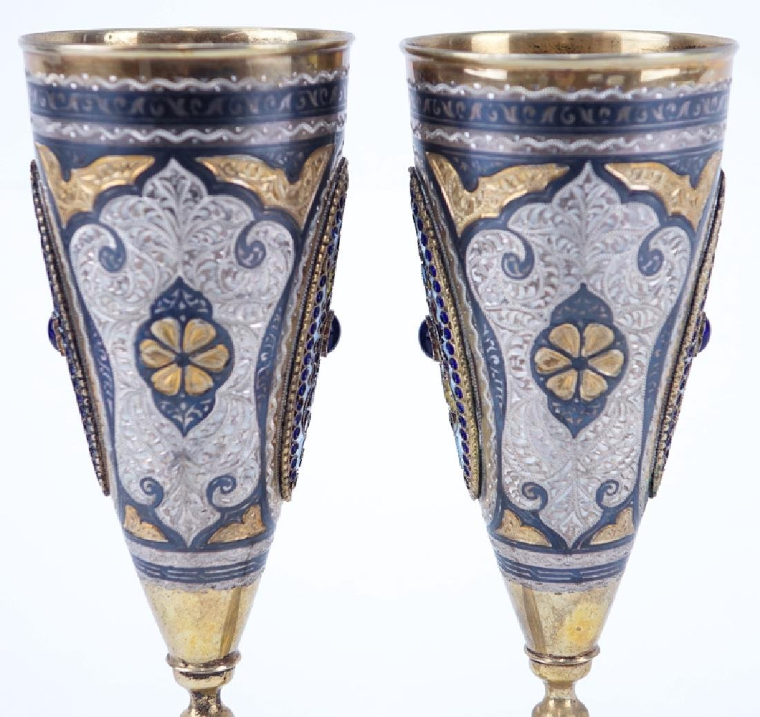 Pair of Russian 875 Silver and Enamel Cups. Chased - 3
