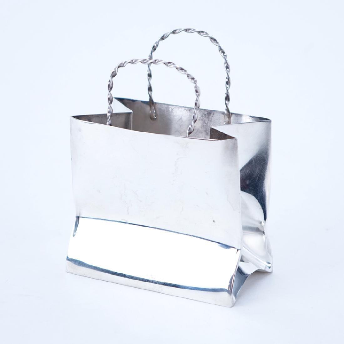 Cartier Hand Made Sterling Silver Trinket Bag. Signed.