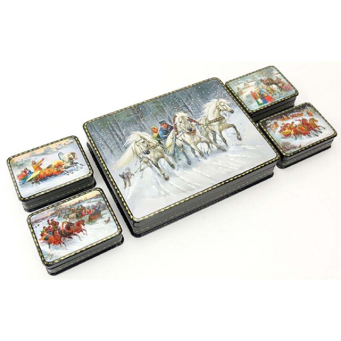 Large Russian Lacquer Box with Four (4) Smaller Boxes