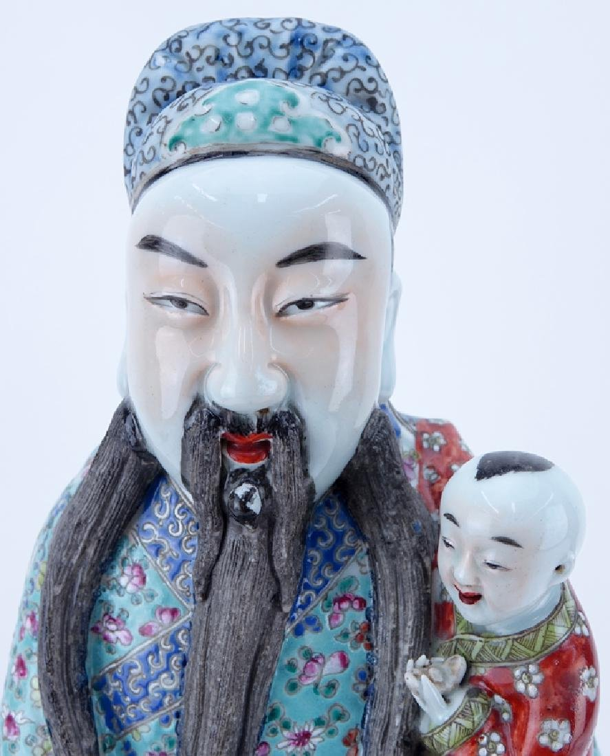 Large Chinese Famille Rose Porcelain Immortal with - 3