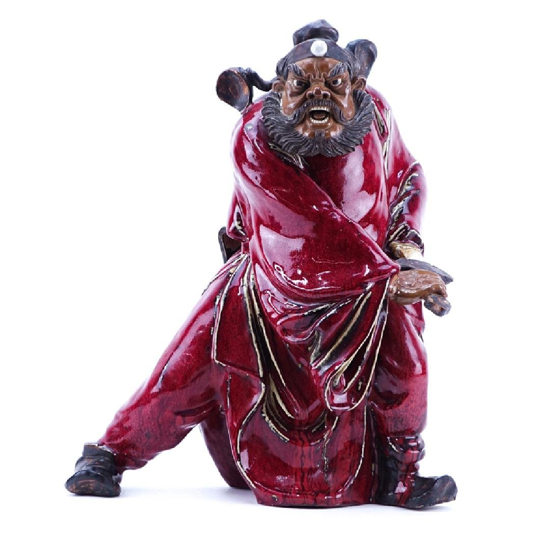 Large Chinese Glazed Mudmen Figure of a Shiwan Warrior
