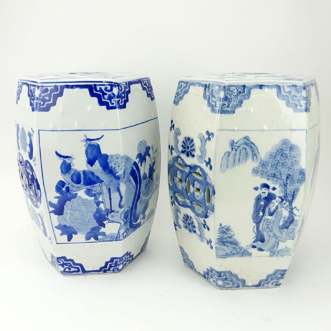 Two (2) Mid Century Blue and White Chinoiserie - 2
