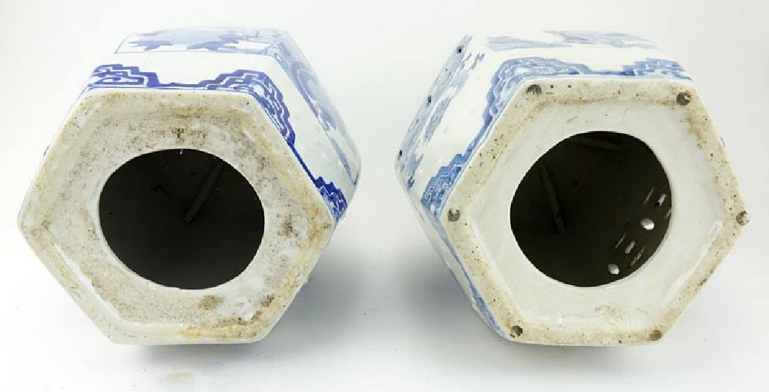 Two (2) Mid Century Blue and White Chinoiserie - 4