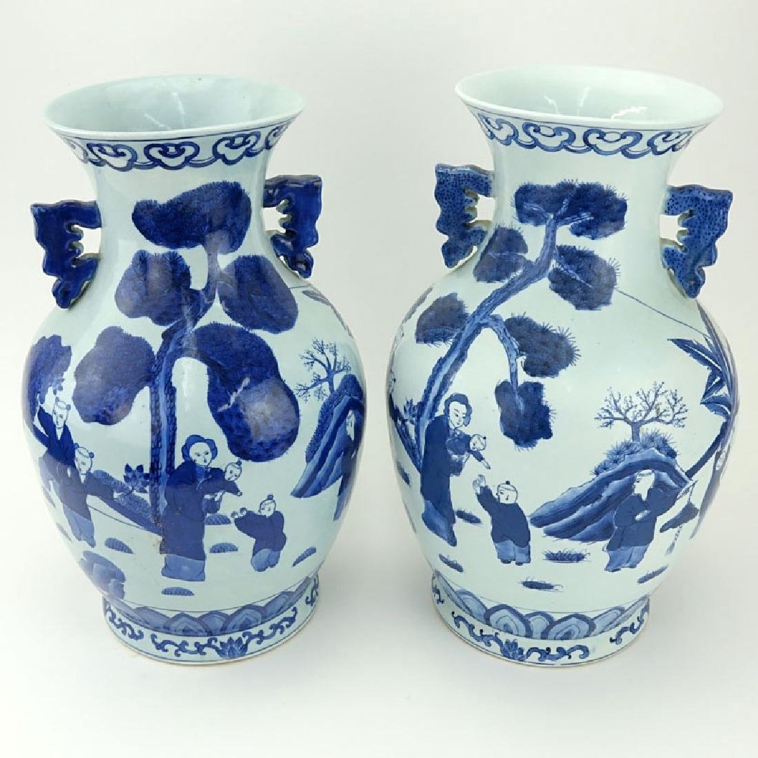 Pair of Mid Century Blue and White Chinoiserie