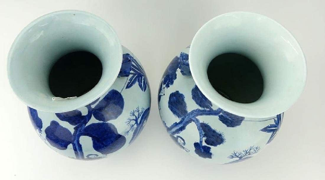 Pair of Mid Century Blue and White Chinoiserie - 3