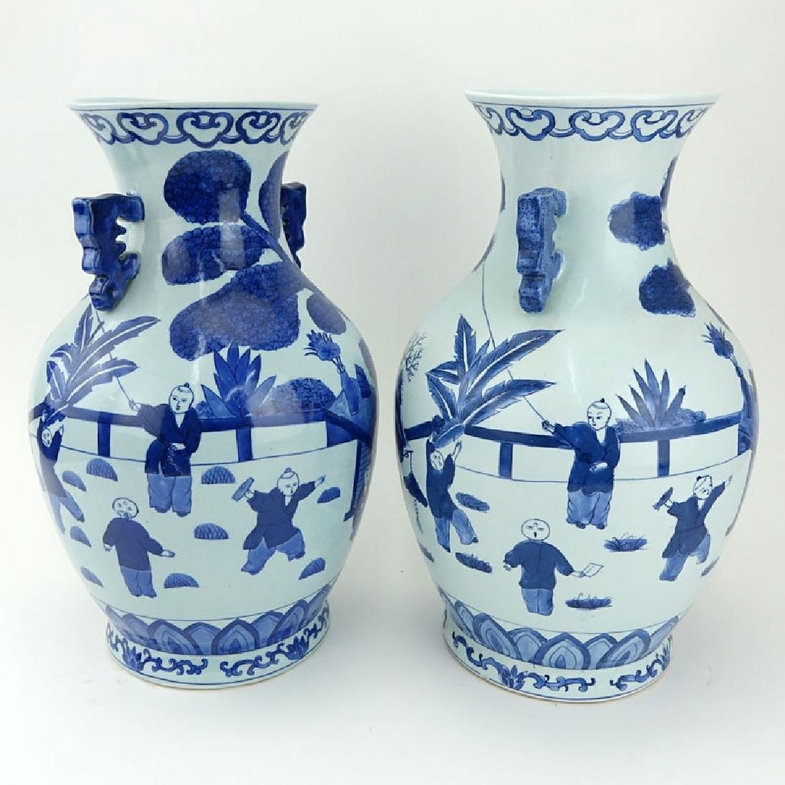 Pair of Mid Century Blue and White Chinoiserie - 4