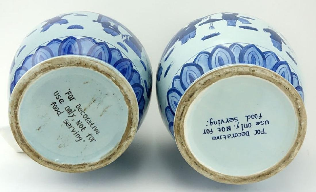 Pair of Mid Century Blue and White Chinoiserie - 5