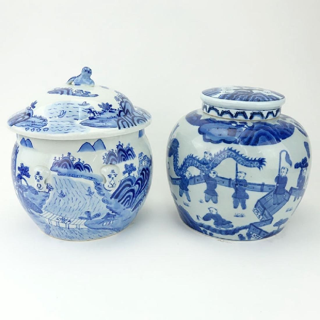 Two (2) Mid Century Blue and White Chinoiserie