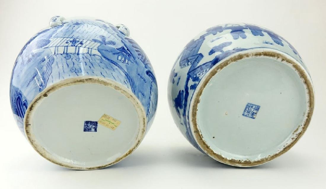 Two (2) Mid Century Blue and White Chinoiserie - 3