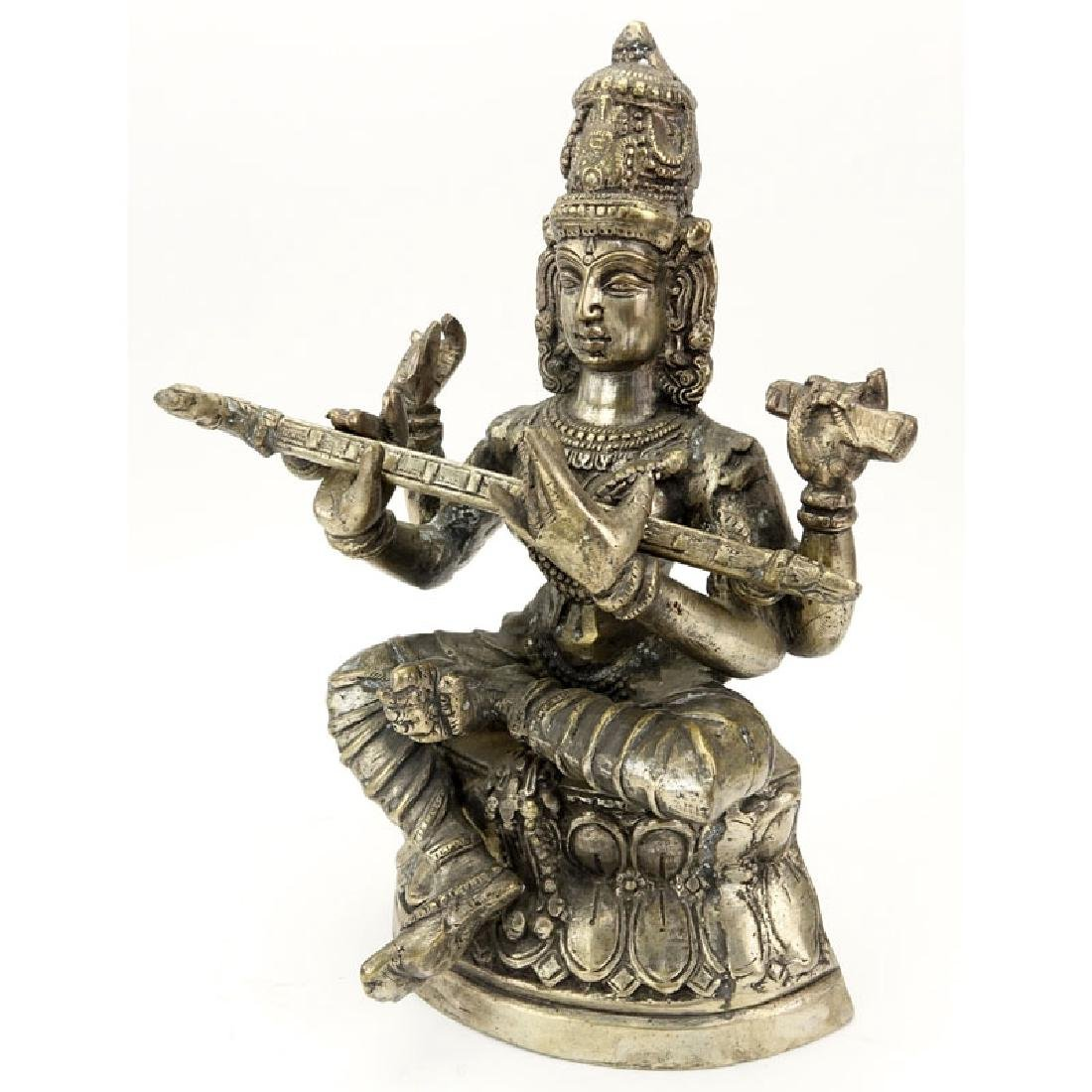 20th Century Hindu Bronze Sculpture of a Seated Goddess