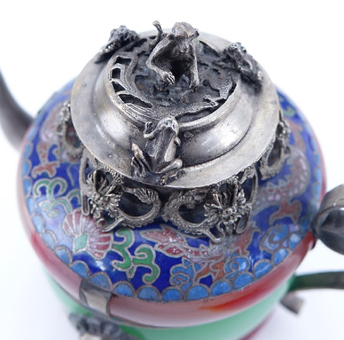 Three (3) Vintage Chinese White Metal, Carnelian, Jade - 2