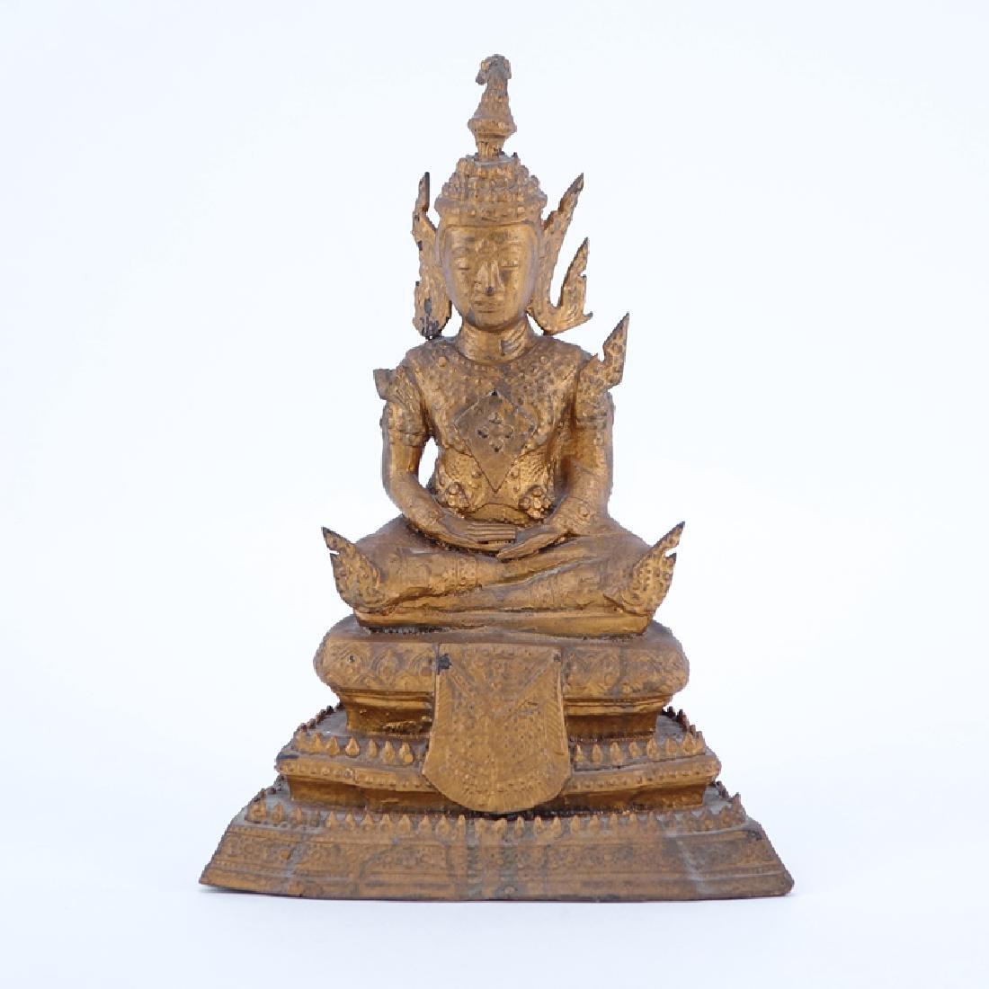 Mid-Century Bronze Buddha. Unsigned. Wear, headdress