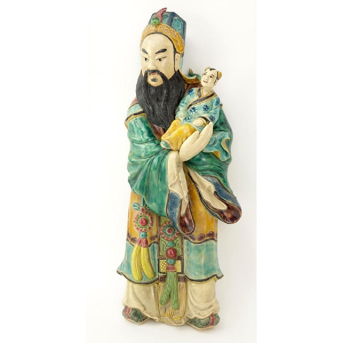Chinese Polychrome Glazed Pottery of a Deity with