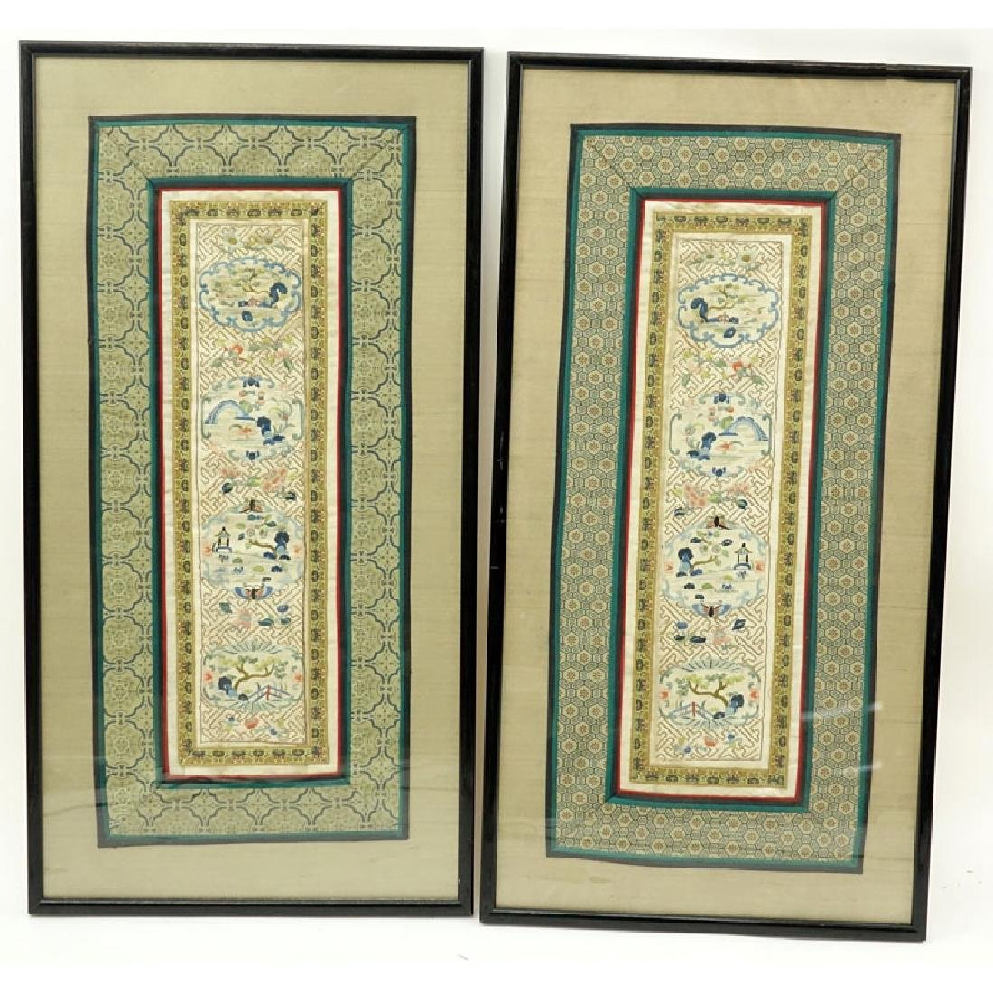 Two (2) Antique Chinese Embroidered Panels. Unsigned.