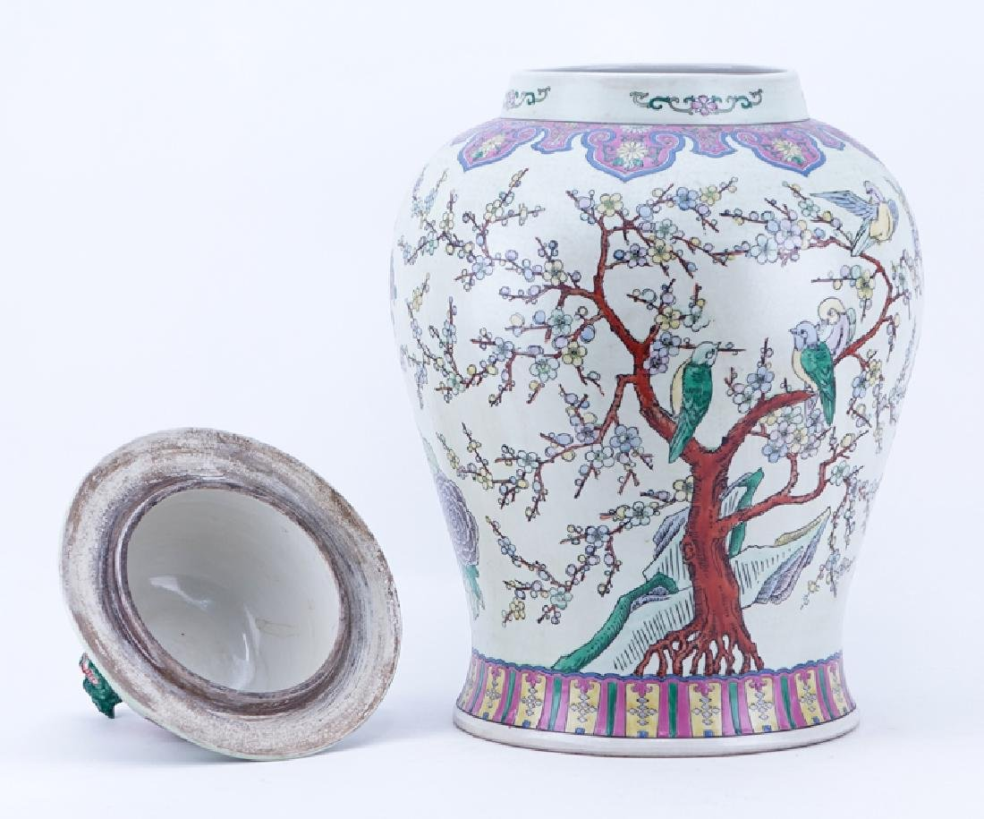 Large Chinese Famille Rose Porcelain Covered Urn with - 2