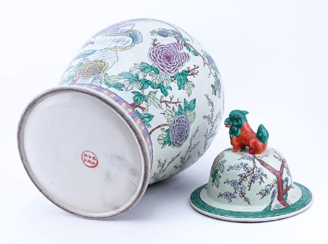 Large Chinese Famille Rose Porcelain Covered Urn with - 4