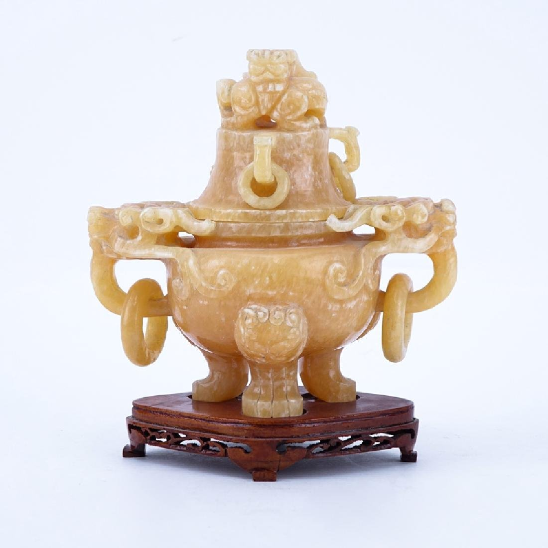 Chinese Carved Hardstone Covered Figural Urn On Stand.
