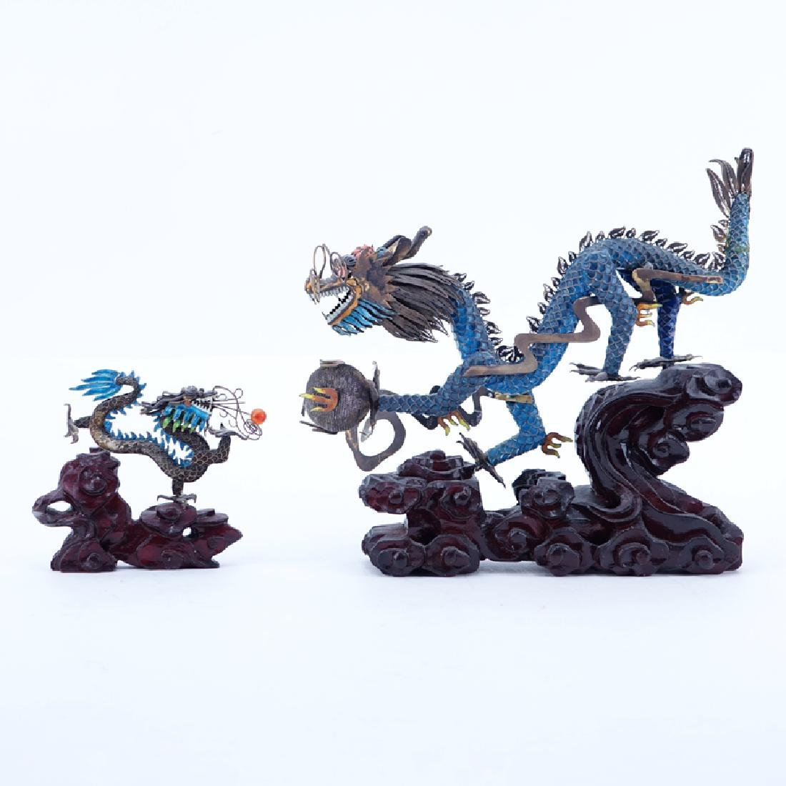 Two (2) Vintage Chinese Asian Silver And Enamel Dragons