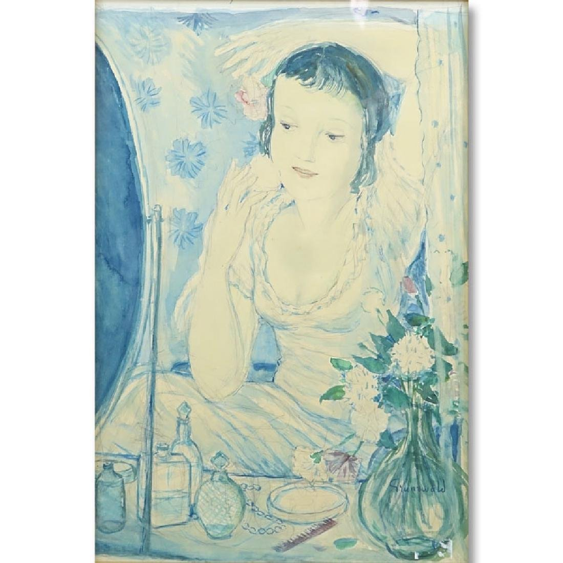 Isaac Grünewald, Swedish  (1889-1946) Watercolor, Lady