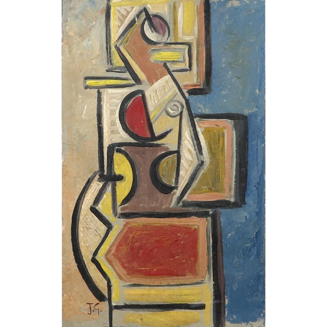 "1930's European School Oil On Card ""Cubist Composition"""