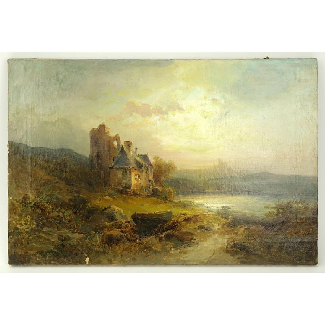 "19th Century English School Oil On Canvas ""Castle In"