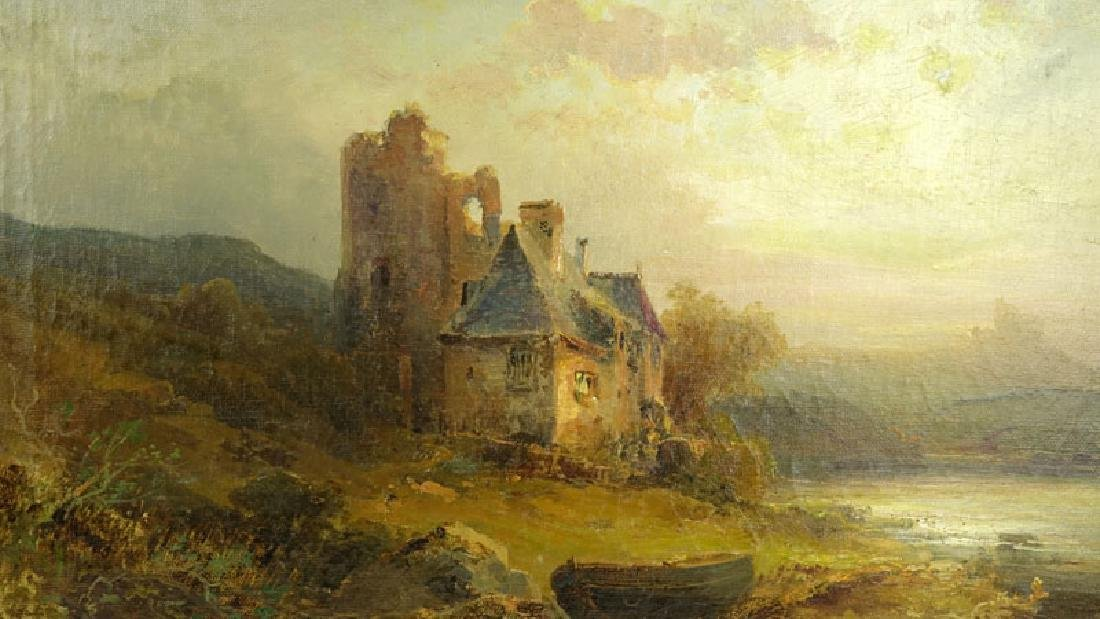 "19th Century English School Oil On Canvas ""Castle In - 4"