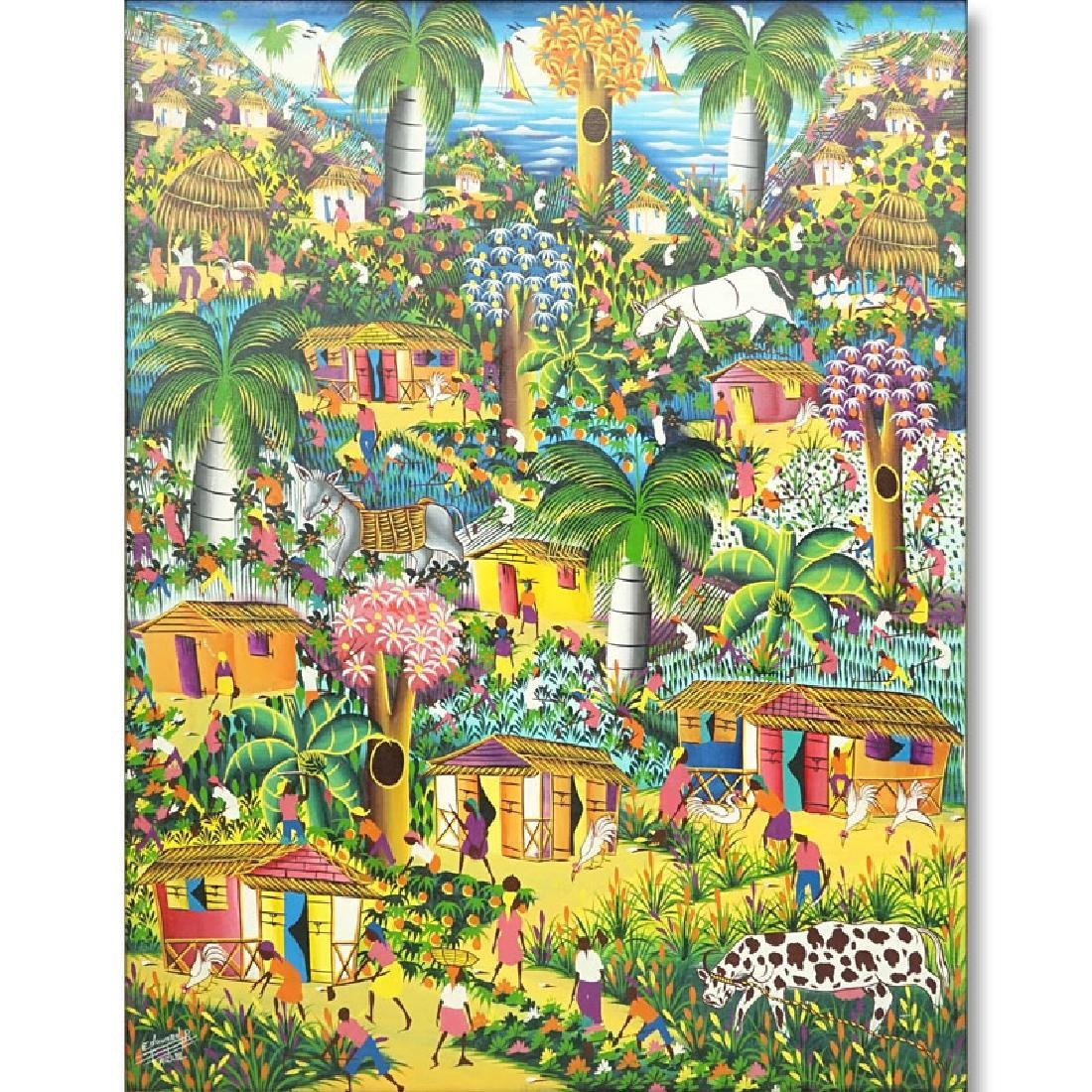 "Edouard P., Haitian (20th C.) Oil on Linen ""Village"