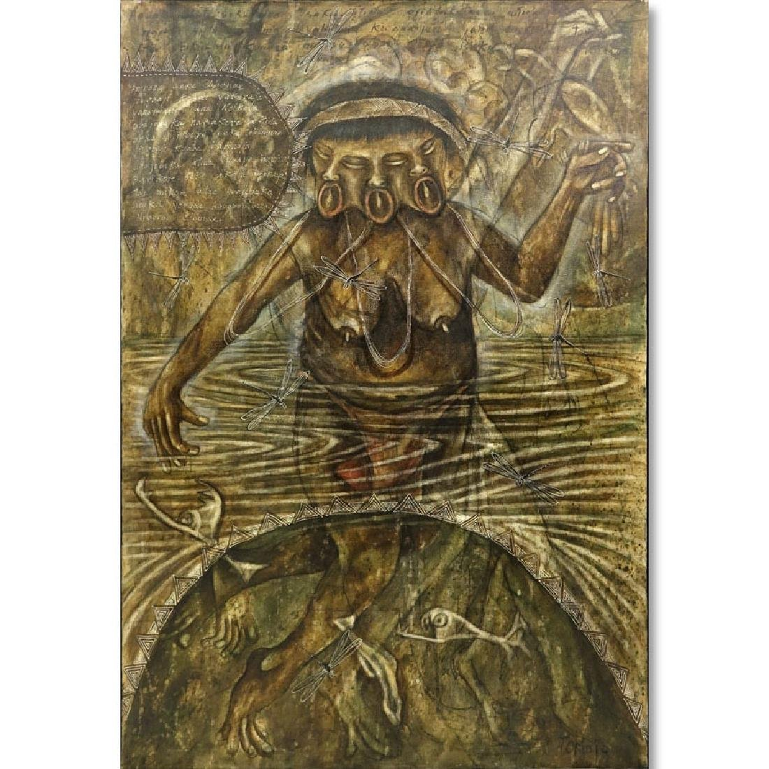"Toribio, Venezuelan (20th C.) Oil on Canvas ""Primitive"