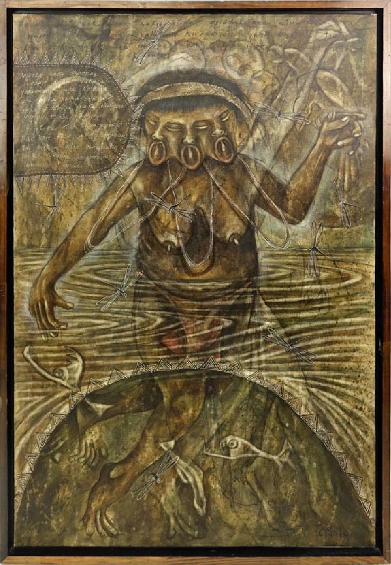 "Toribio, Venezuelan (20th C.) Oil on Canvas ""Primitive - 2"