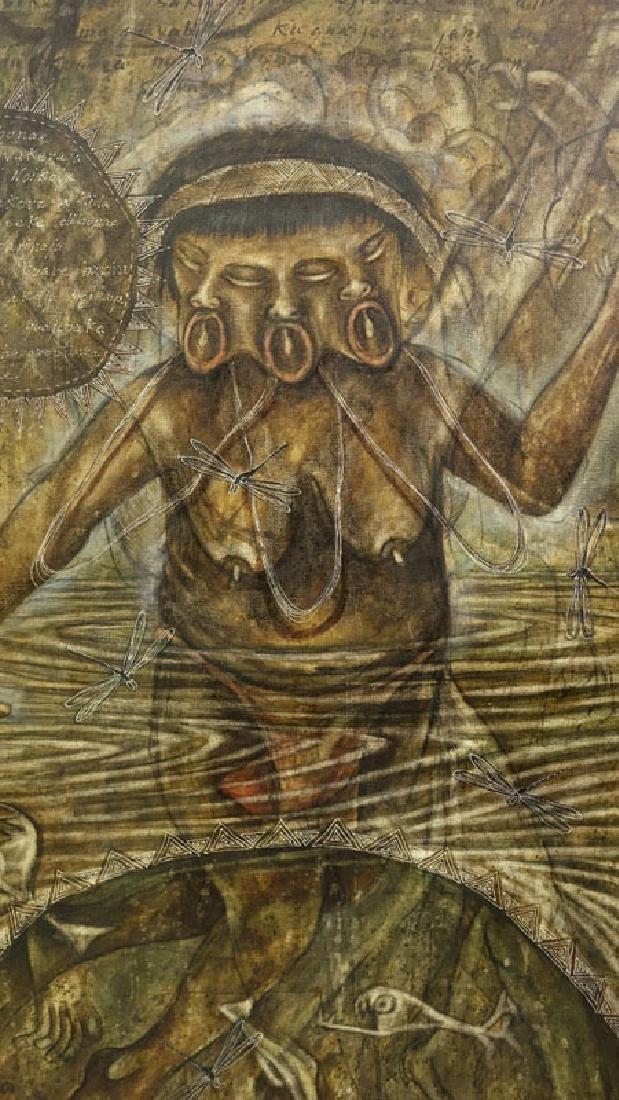 "Toribio, Venezuelan (20th C.) Oil on Canvas ""Primitive - 3"