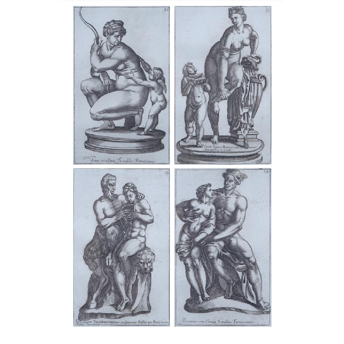 Set of Four (4) Antique Italian Etchings. Toning and