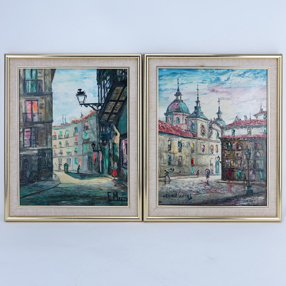 Two (2) Mid-Century Oil On Canvas Paintings. Fermin