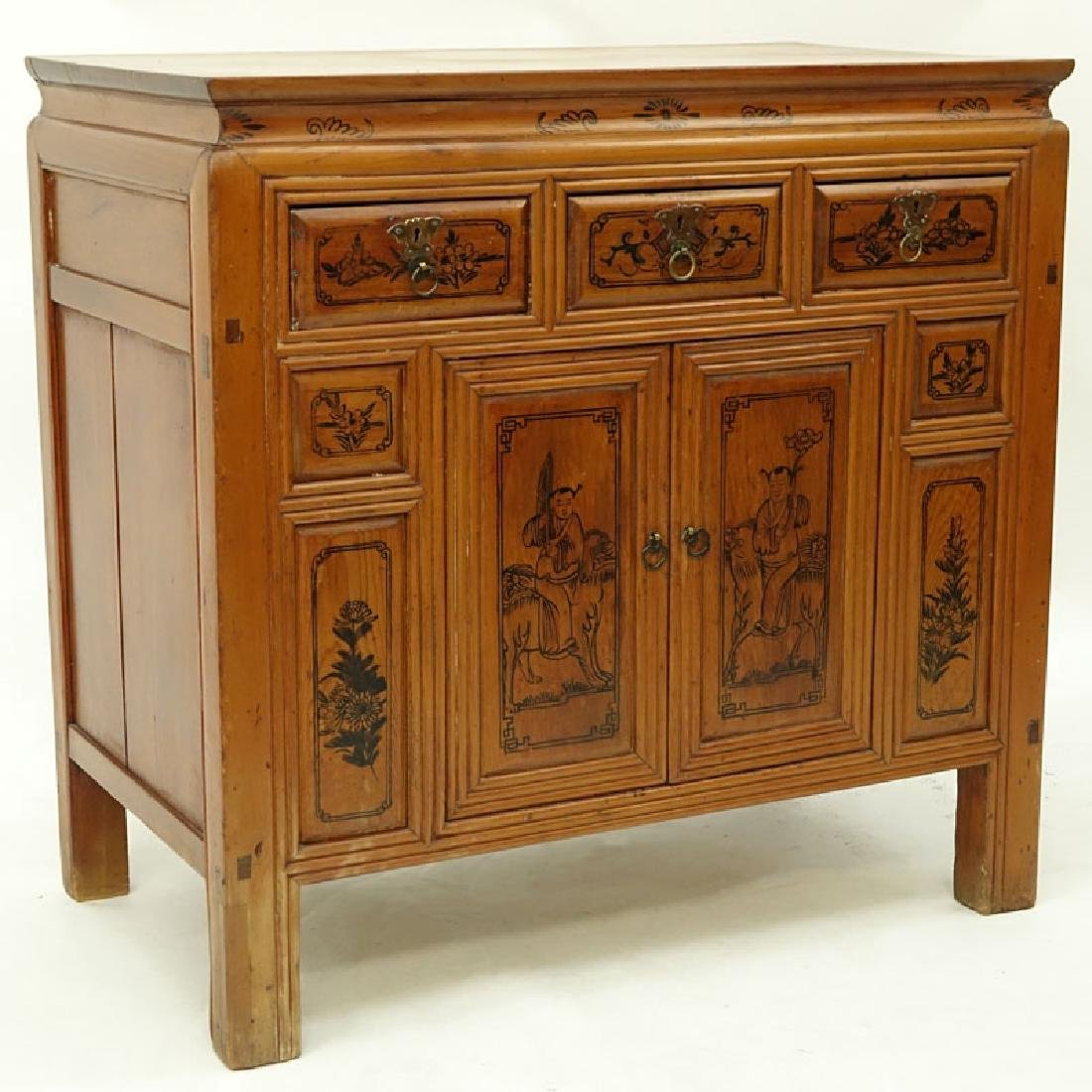 Circa 1900 Chinese Cypress Wood Cabinet with Three (3)