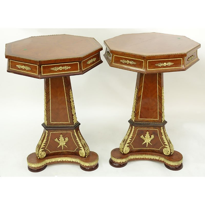 Pair of Louis XVI Style Bronze Mounted Veneered