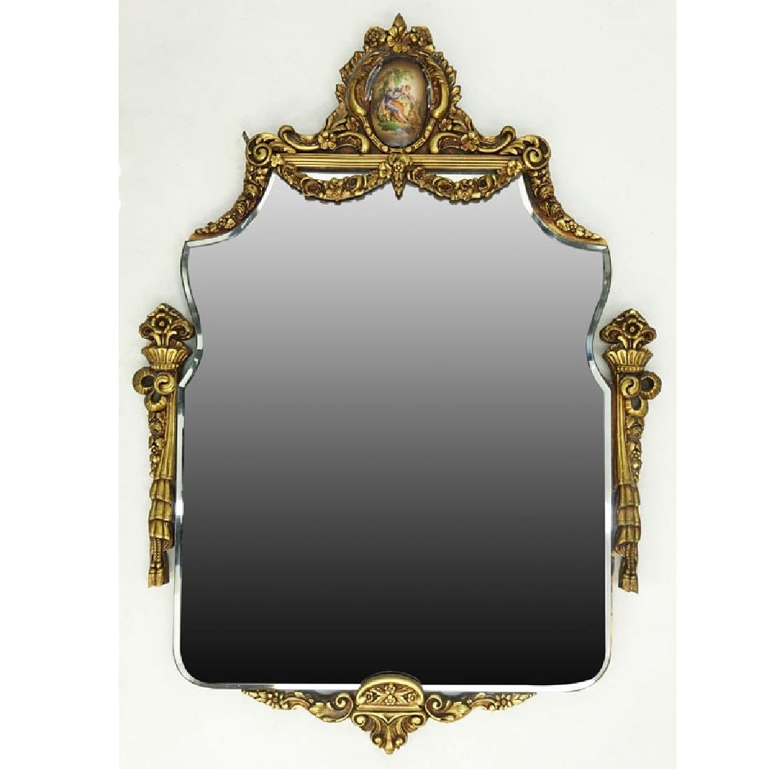 Mid-Century Giltwood Mirror with Inset Decorative