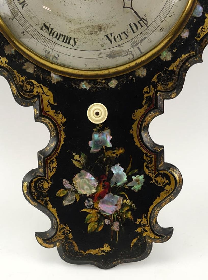 Victorian Inlaid Mother Of Pearl Painted Barometer With - 3