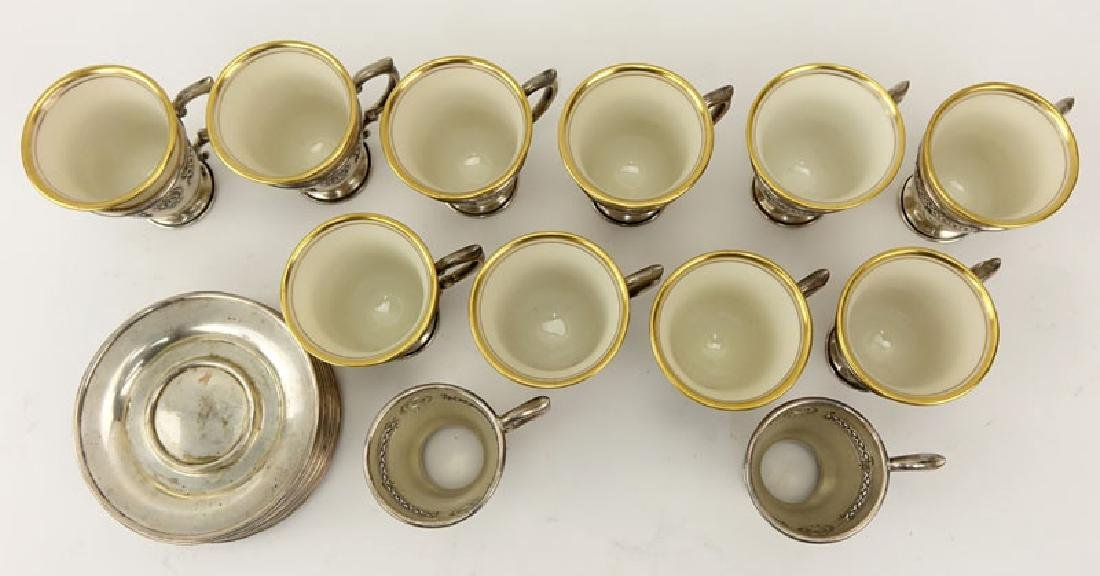 Set of Sterling and Porcelain Demitasse Cups and - 2