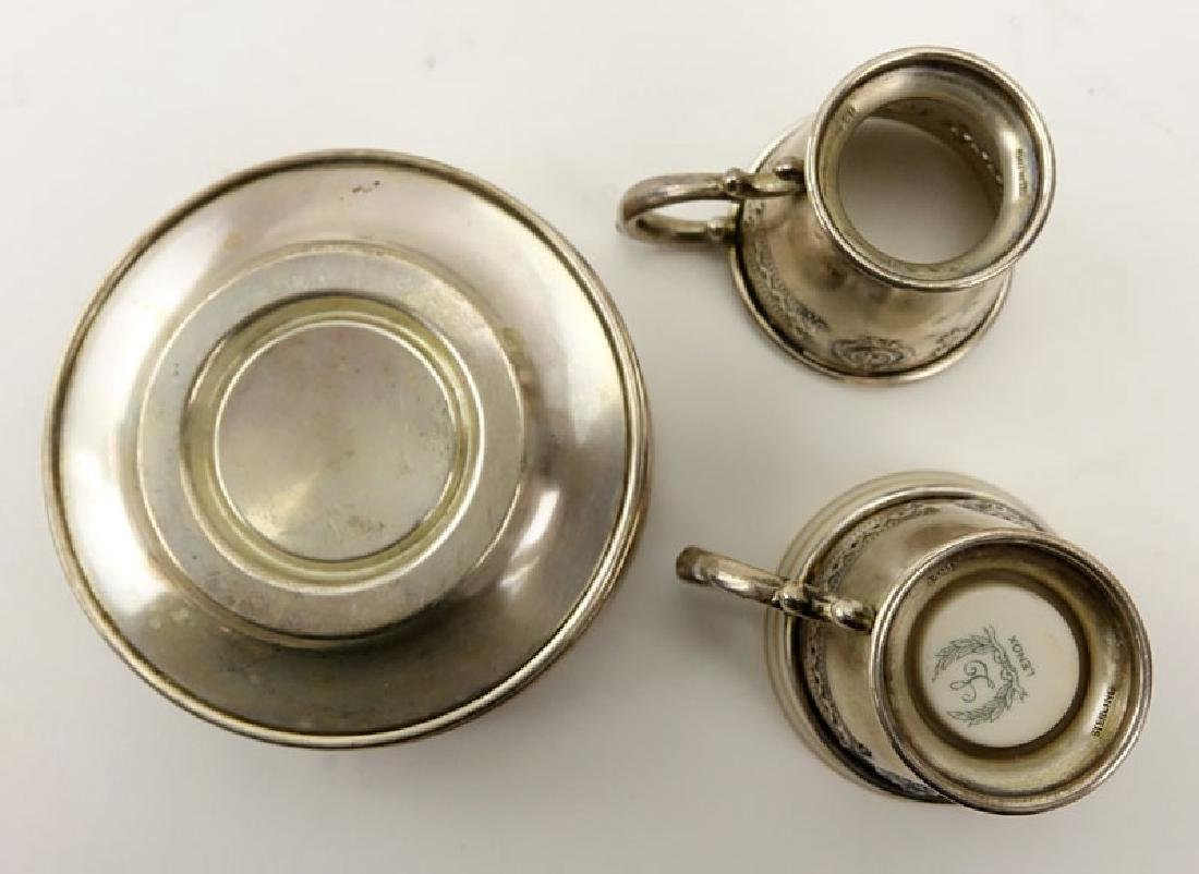 Set of Sterling and Porcelain Demitasse Cups and - 3