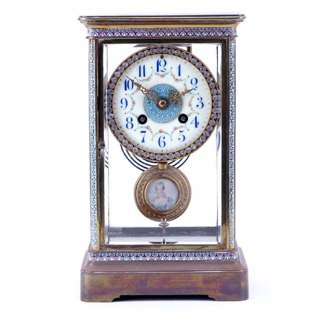 Antique French Champlevé Regulator Clock With Hand