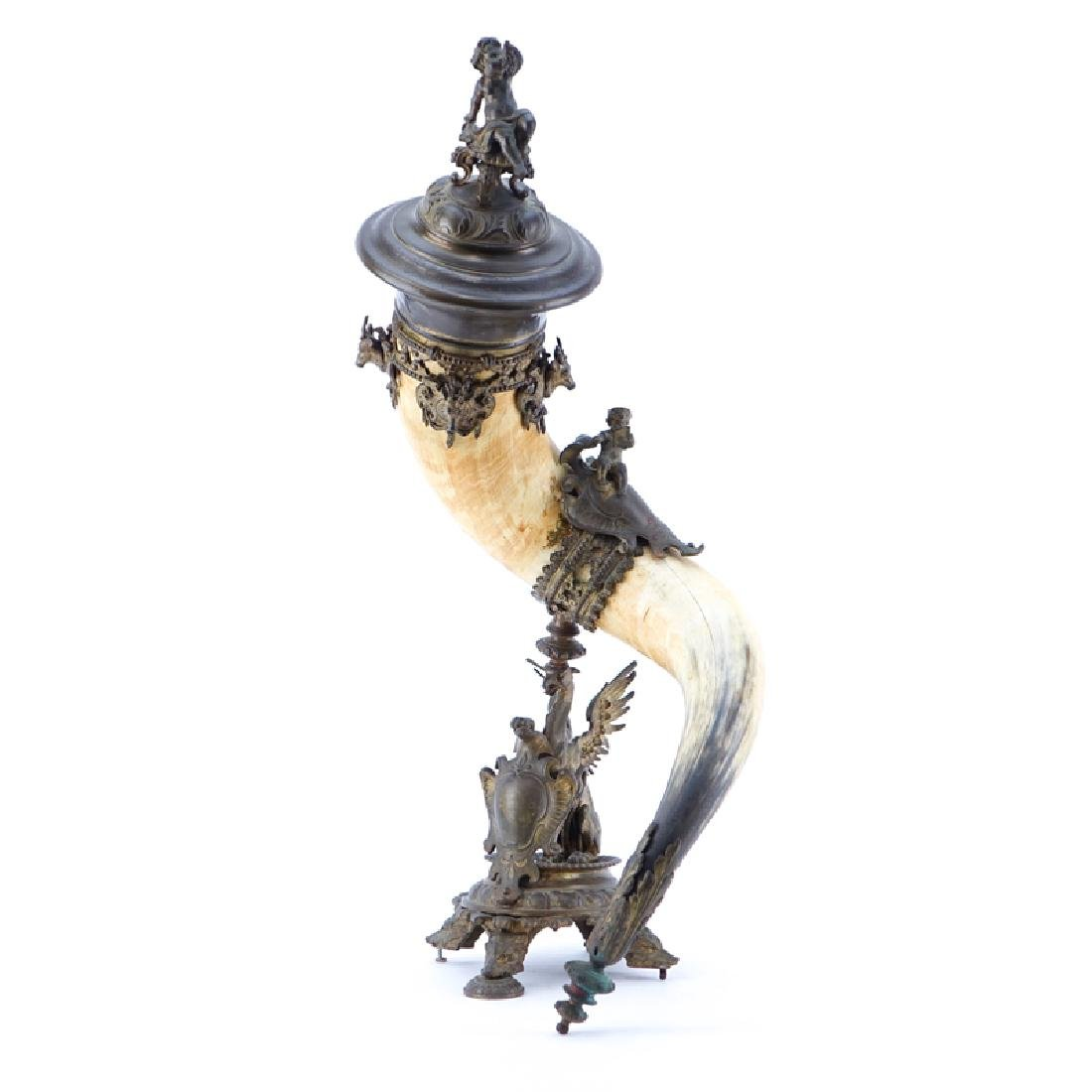 Large and Impressive Bronze Mounted Table Horn. Horn