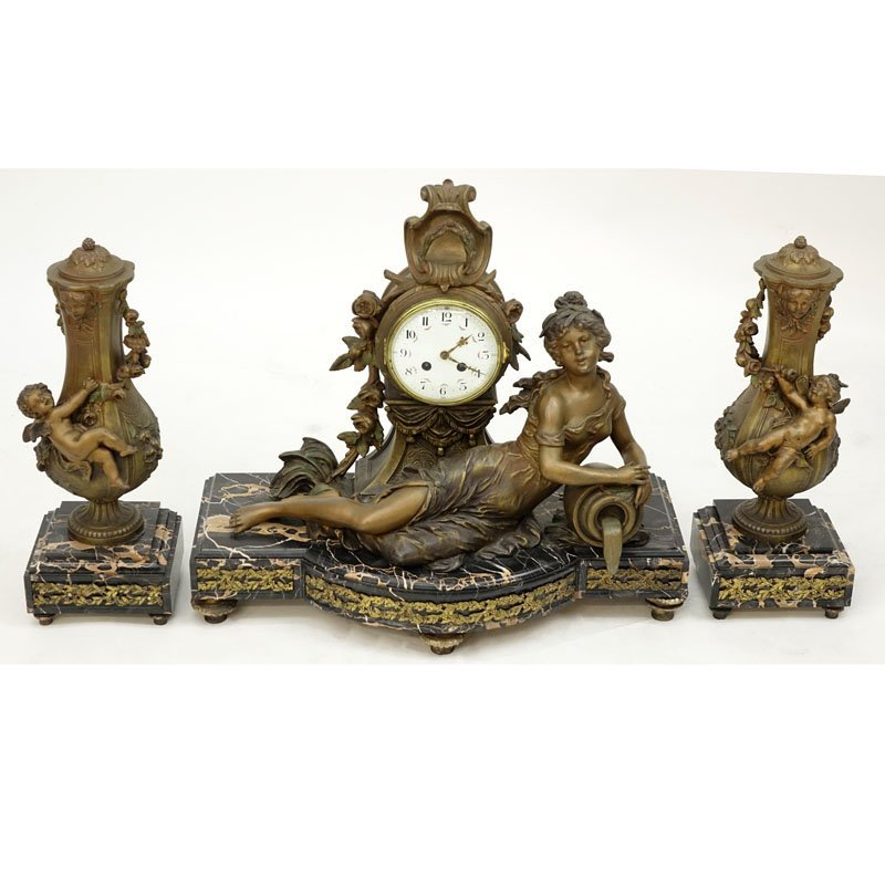 L & F Moreau Art Nouveau French Metal and Marble Clock