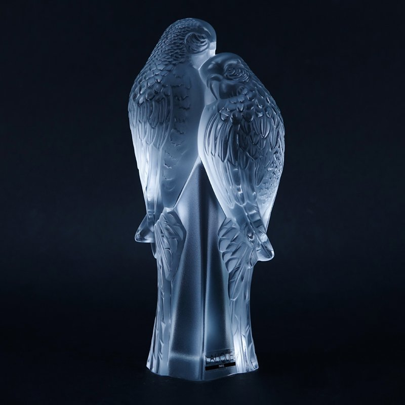 "Lalique Crystal ""Duex Perruches"" Figurine In Box."