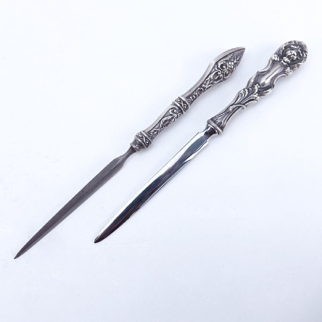 Two (2) Sterling Handled Letter Openers. One with